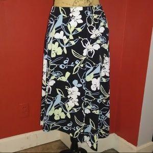 Asymetrical Black Floral Skirt XXL Merona